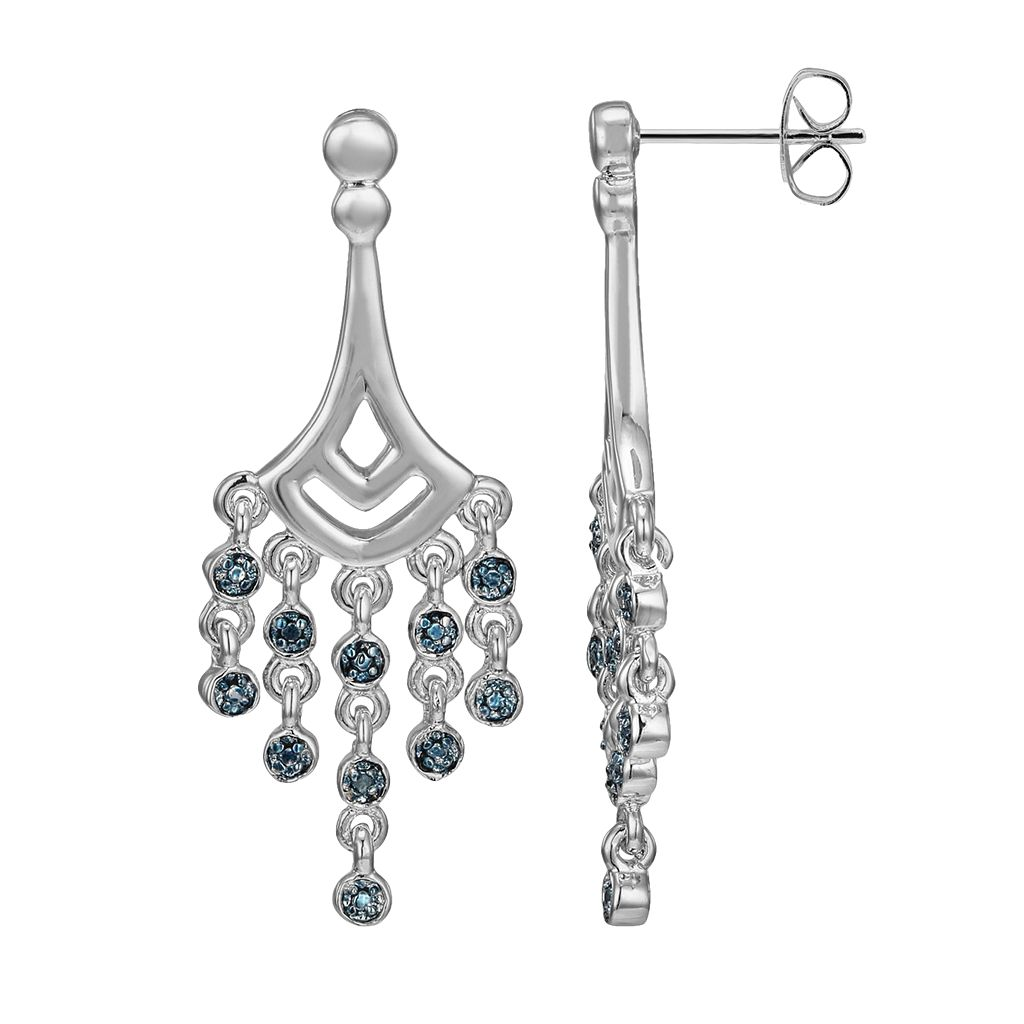 Silver Plated Blue Diamond Accent Chandelier Earrings