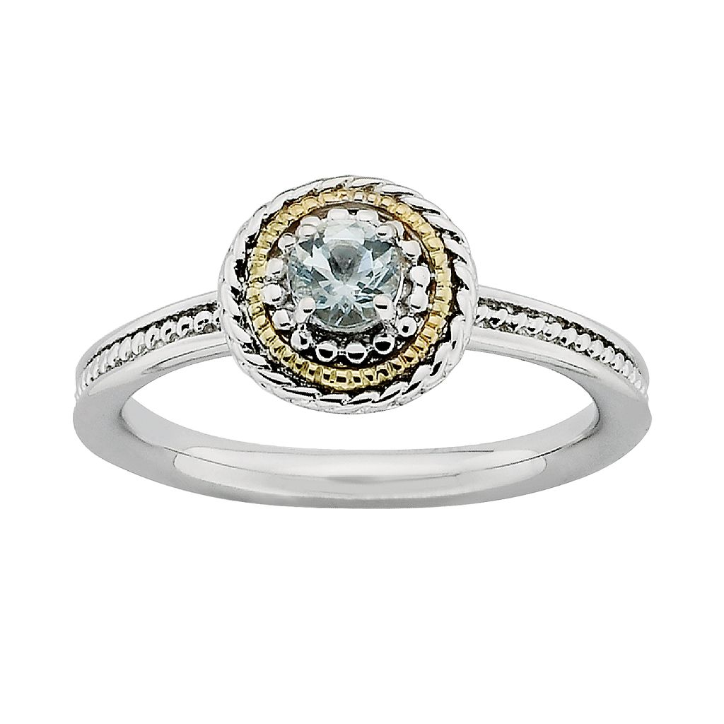 Stacks & Stones 14k Gold & Sterling Silver Aquamarine Textured Stack Ring