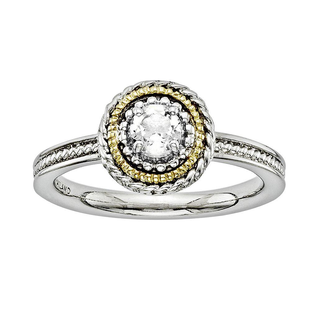 Stacks & Stones 14k Gold & Sterling Silver White Topaz Textured Stack Ring