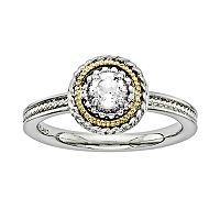 Stacks & Stones 14k Gold & Sterling Silver White Topaz Textured Stack Ring