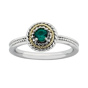 Stacks & Stones 14k Gold & Sterling Silver Lab-Created Emerald Textured Stack Ring