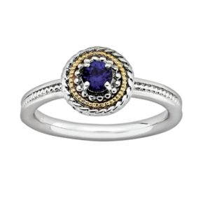 Stacks and Stones 14k Gold and Sterling Silver Lab-Created Sapphire Textured Stack Ring