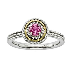 Stacks and Stones 14k Gold and Sterling Silver Pink Tourmaline Textured Stack Ring