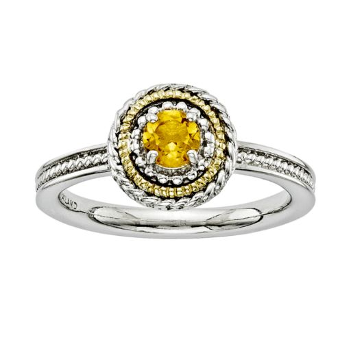 Stacks and Stones 14k Gold and Sterling Silver Citrine Textured Stack Ring