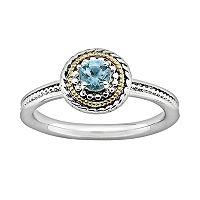 Stacks & Stones 14k Gold & Sterling Silver Blue Topaz Textured Stack Ring