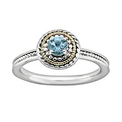 Stacks & Stones 14k Gold & Sterling Silver Blue Topaz Textured Stack Ring