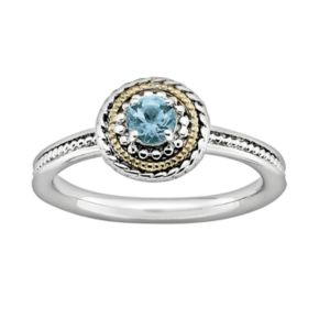 Stacks and Stones 14k Gold and Sterling Silver Blue Topaz Textured Stack Ring
