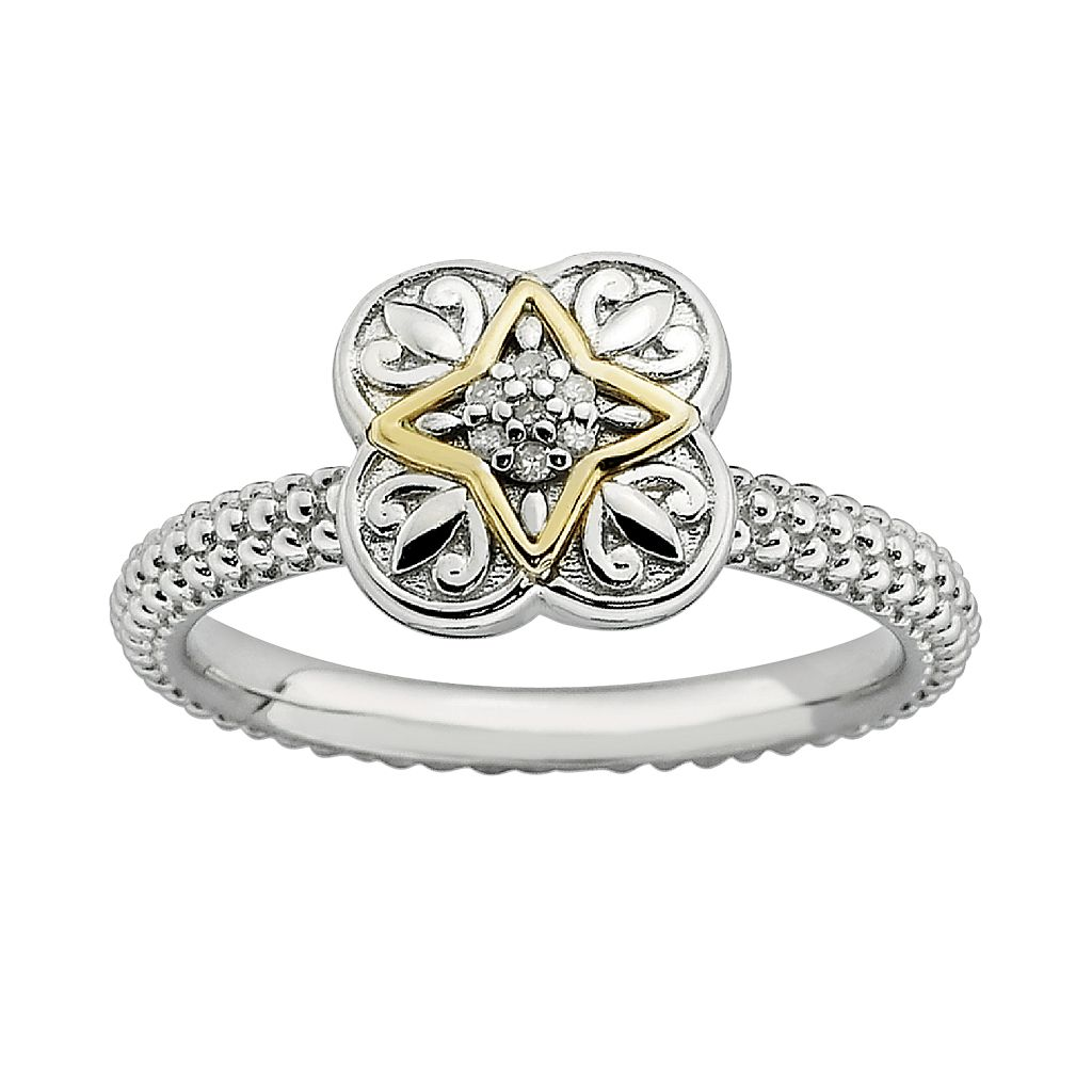 Stacks & Stones 14k Gold and Sterling Silver Diamond Accent Stack Ring