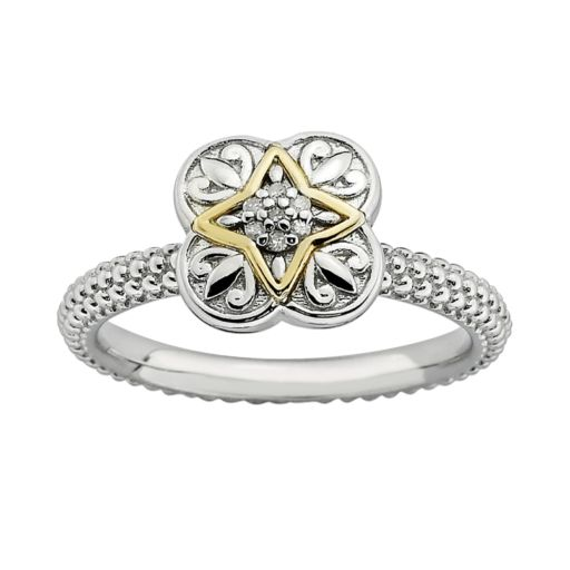 Stacks and Stones 14k Gold and Sterling Silver Diamond Accent Stack Ring