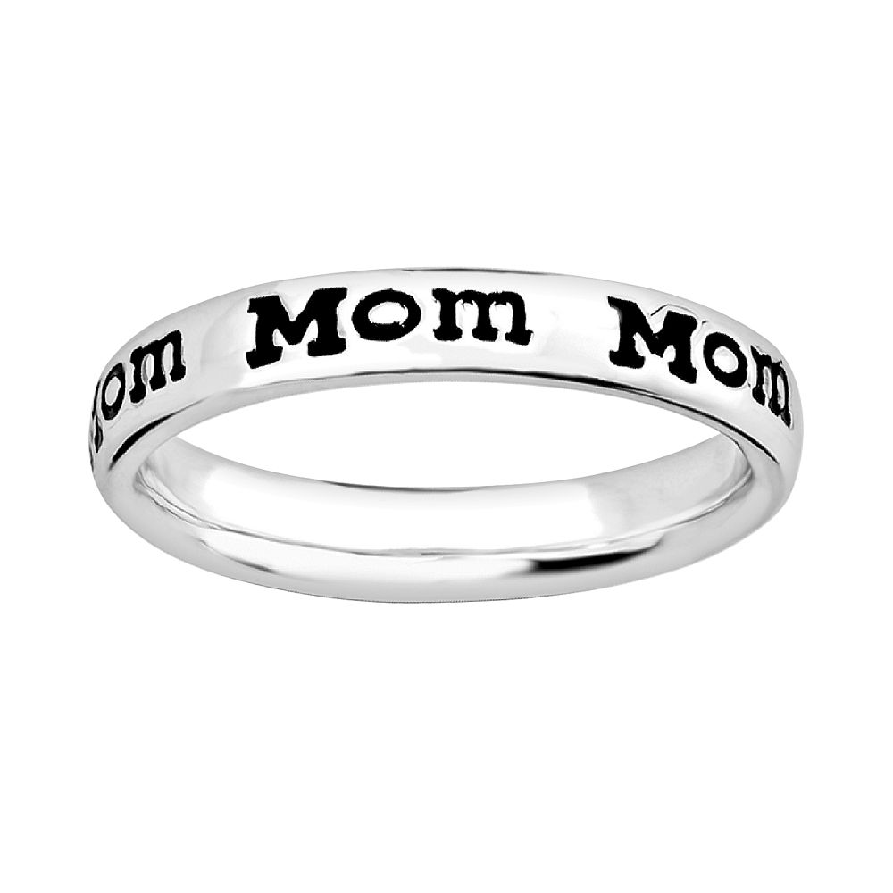 """Stacks & Stones Sterling Silver """"Mom"""" Stack Ring"""