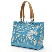 Sondra Roberts Perforated Linen and Patent Leather Tote