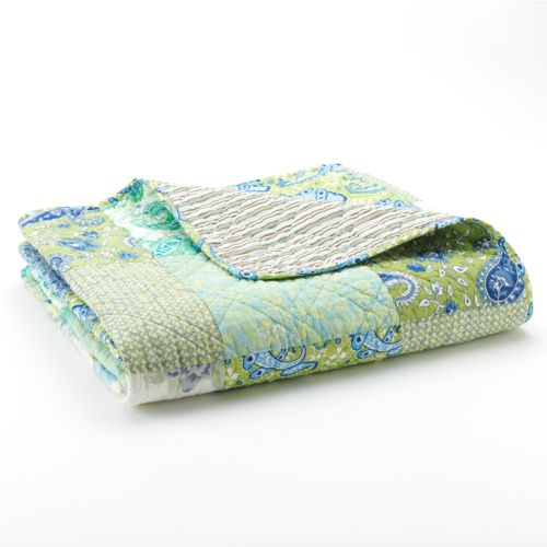 Vintage Jade Patchwork Quilted Throw