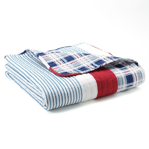 Nautical Stripes Reversible Quilted Throw