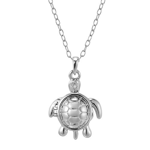"Silver Plate Diamond Accent ""Patience"" Turtle Pendant"