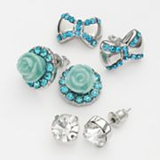Candie's Silver Tone Simulated Crystal Flower and Bow Stud Earring Set