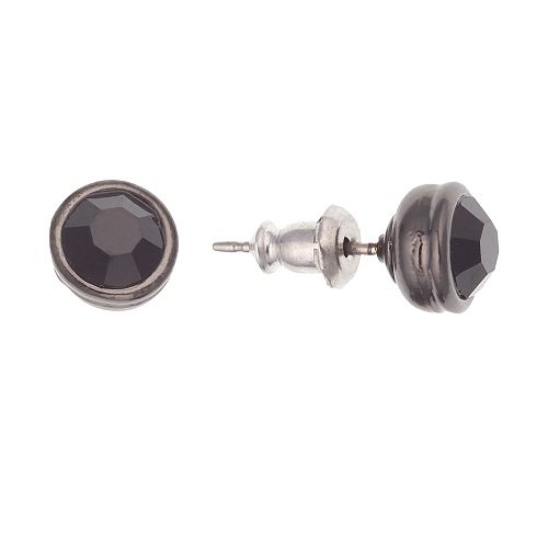 1928 Black Faceted Stud Earrings