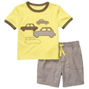 Carter's Car Tee and Checkered Shorts Set - Toddler