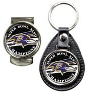 Baltimore Ravens Super Bowl XLVII Champions Leather Key Chain and Money Clip Set