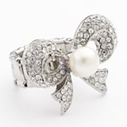 Candie's Silver Tone Simulated Crystal and Simulated Pearl Bow Stretch Ring
