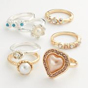 Candie's Two Tone Simulated Crystal and Simulated Pearl Heart and Flower Ring Set