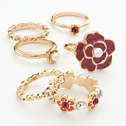 Candie's Gold Tone Simulated Crystal and Simulated Pearl Flower Ring Set