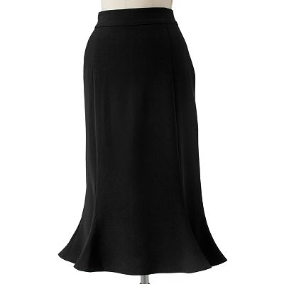 Sag Harbor Slimming Gored Midi Skirt