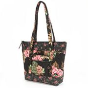 Lily Waters Tara Night Garden Roses Quilted Tote