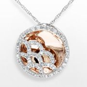 10k Two Tone Gold 1/3-ct. T.W. Diamond Circle Frame Pendant
