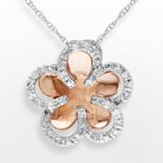 10k Two Tone Gold 1/5-ct. T.W. Diamond Flower Pendant
