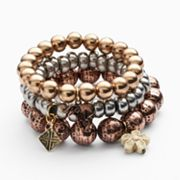 Mudd Tri-Tone Bead and Charm Stretch Bracelet Set