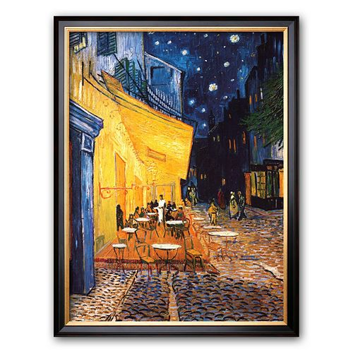 """Art.com """"The Cafe Terrace on the Place du Forum, Arles, at Night, c.1888"""" Framed Art Print by Vincent van Gogh"""