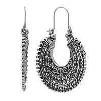 Mudd® Silver Tone Textured Openwork Hoop Drop Earrings