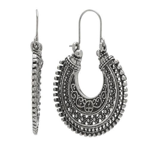 Mudd® Silver Tone Textured Openwork Hoop Drop Earrings