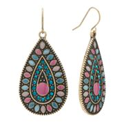 Mudd Gold Tone Simulated Crystal Teardrop Earrings