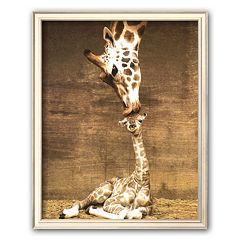 Art.com 'Giraffe, First Kiss' Framed Art Print by Ron D'Raine