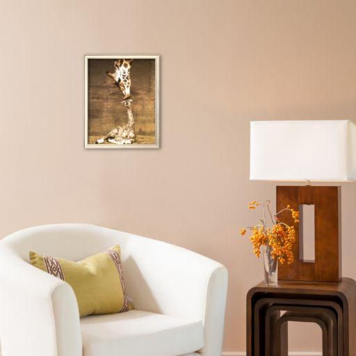 Art.com Giraffe, First Kiss Framed Art Print by Ron D'Raine