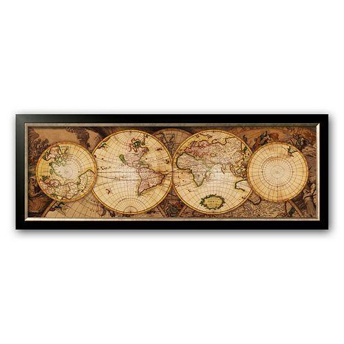 "Art.com ""Map of the World: Nova Totius Terrarum Orbis"" Framed Art Print"