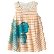 Mudd Floral Striped Crochet-Back Tank - Girls 7-16