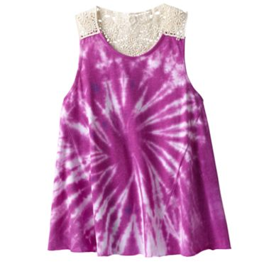 Mudd Tie-Dye Crochet-Back Tank - Girls 7-16