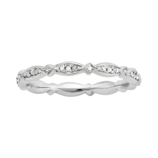 Stacks and Stones Sterling Silver .11-ct. T.W. Diamond Stack Ring