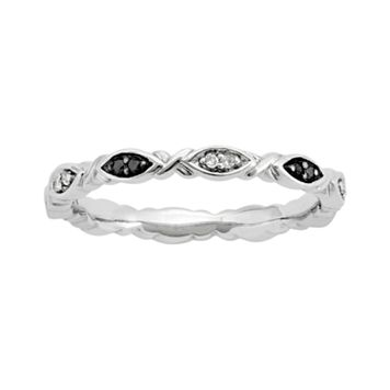 Stacks & Stones Sterling Silver 1/10-ct. T.W. Black & White Diamond Stack Ring