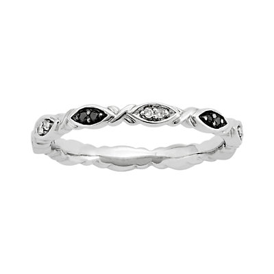 Stacks and Stones Sterling Silver 1/10-ct. T.W. Black and White Diamond Stack Ring