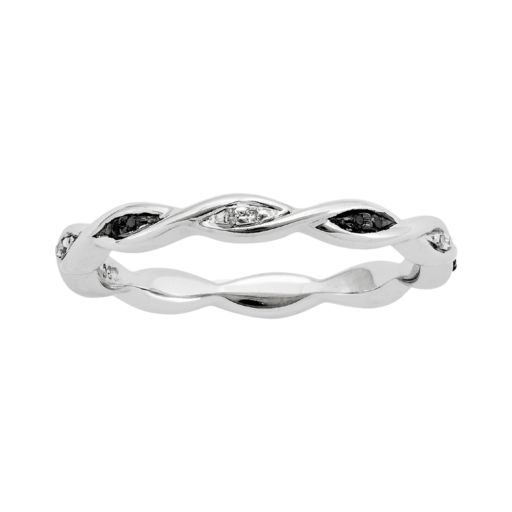 Stacks and Stones Sterling Silver Black and White Diamond Accent Twist Stack Ring