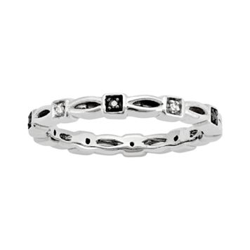 Stacks & Stones Sterling Silver Black & White Diamond Accent Stack Ring