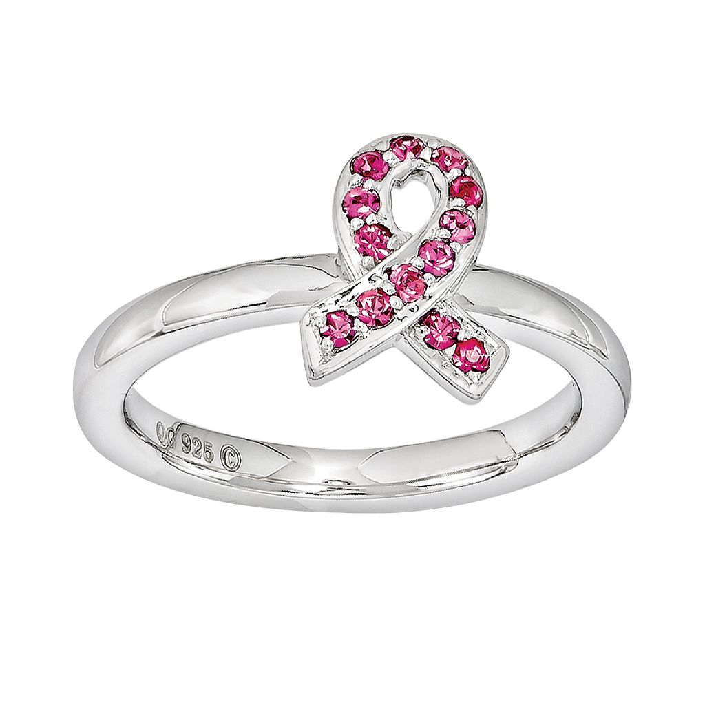 Stacks & Stones Sterling Silver Pink Crystal Breast Cancer Awareness Ribbon Stack Ring - Made with Swarovski Crystals