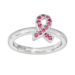 Stacks and Stones Sterling Silver Pink Crystal Breast Cancer Awareness Ribbon Stack Ring - Made with Swarovski Crystals