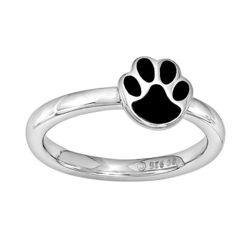 Stacks and Stones Sterling Silver Paw Print Stack Ring