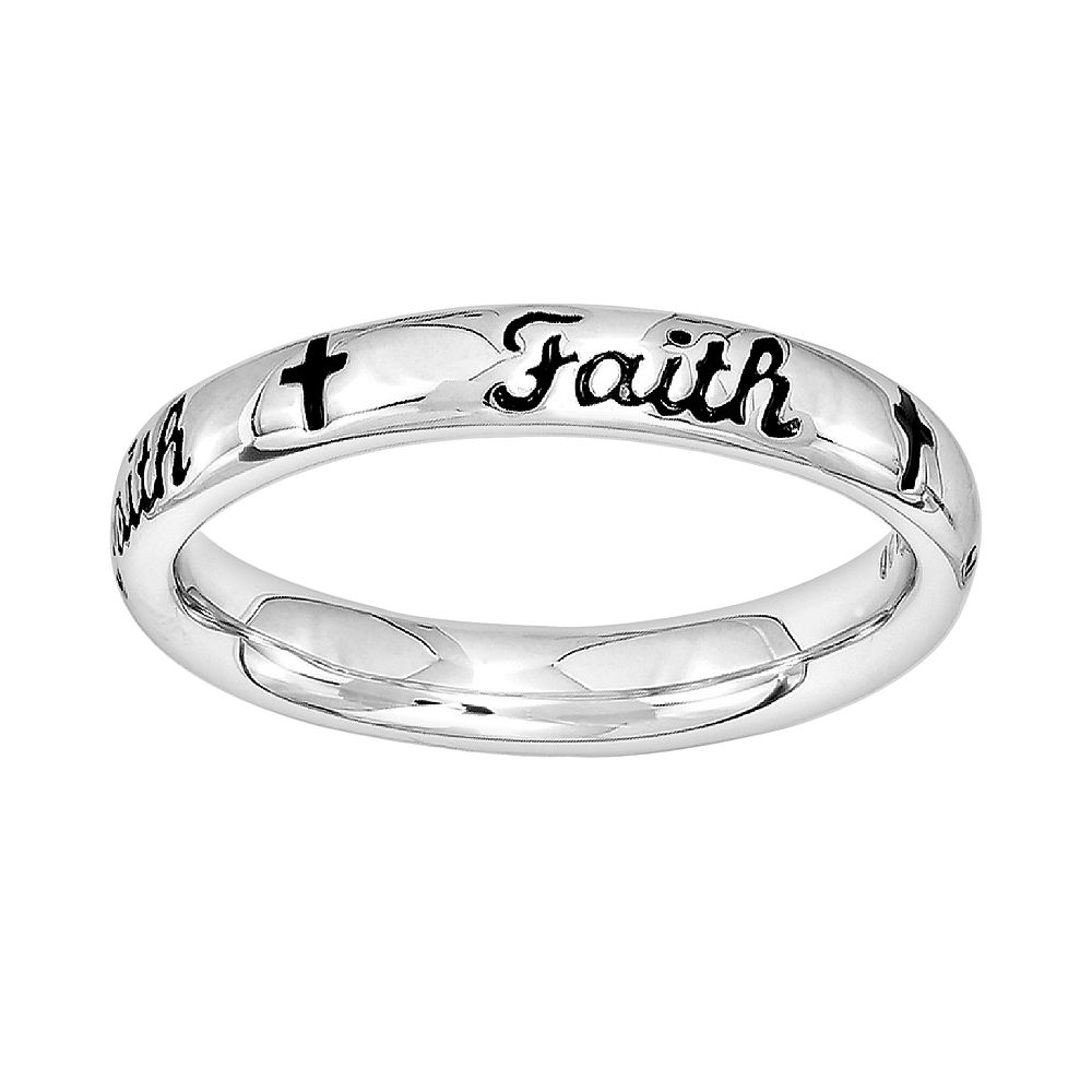 """Stacks & Stones Sterling Silver """"Faith"""" Stack Ring"""
