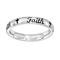 Stacks & Stones Sterling Silver 'Faith' Stack Ring