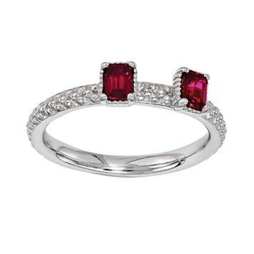 Stacks & Stones Sterling Silver Lab-Created Ruby Beaded Stack Ring